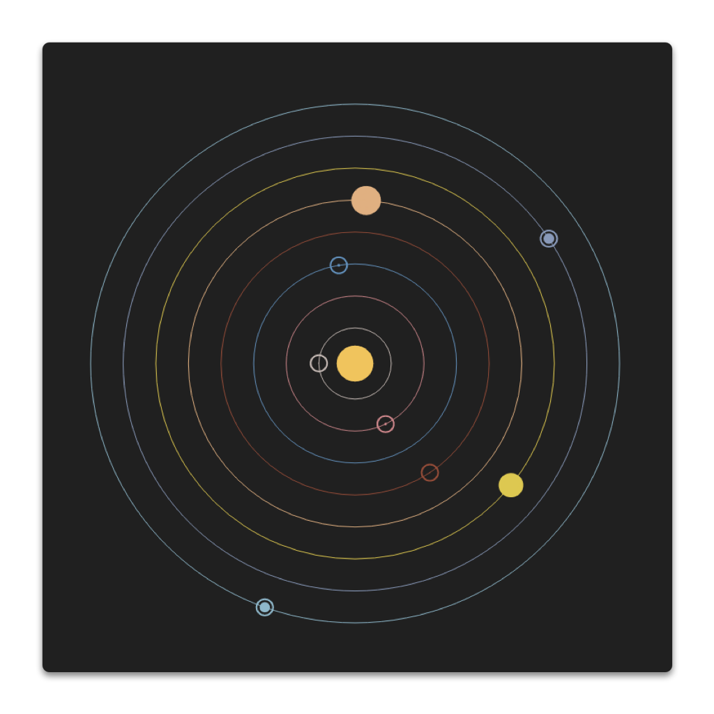 solar system depiction with planets equidistant from each other